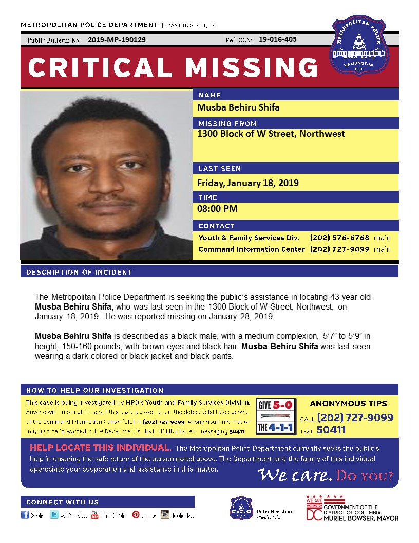 Critical Missing Person / Afalgun – Musba Behiru Shifa